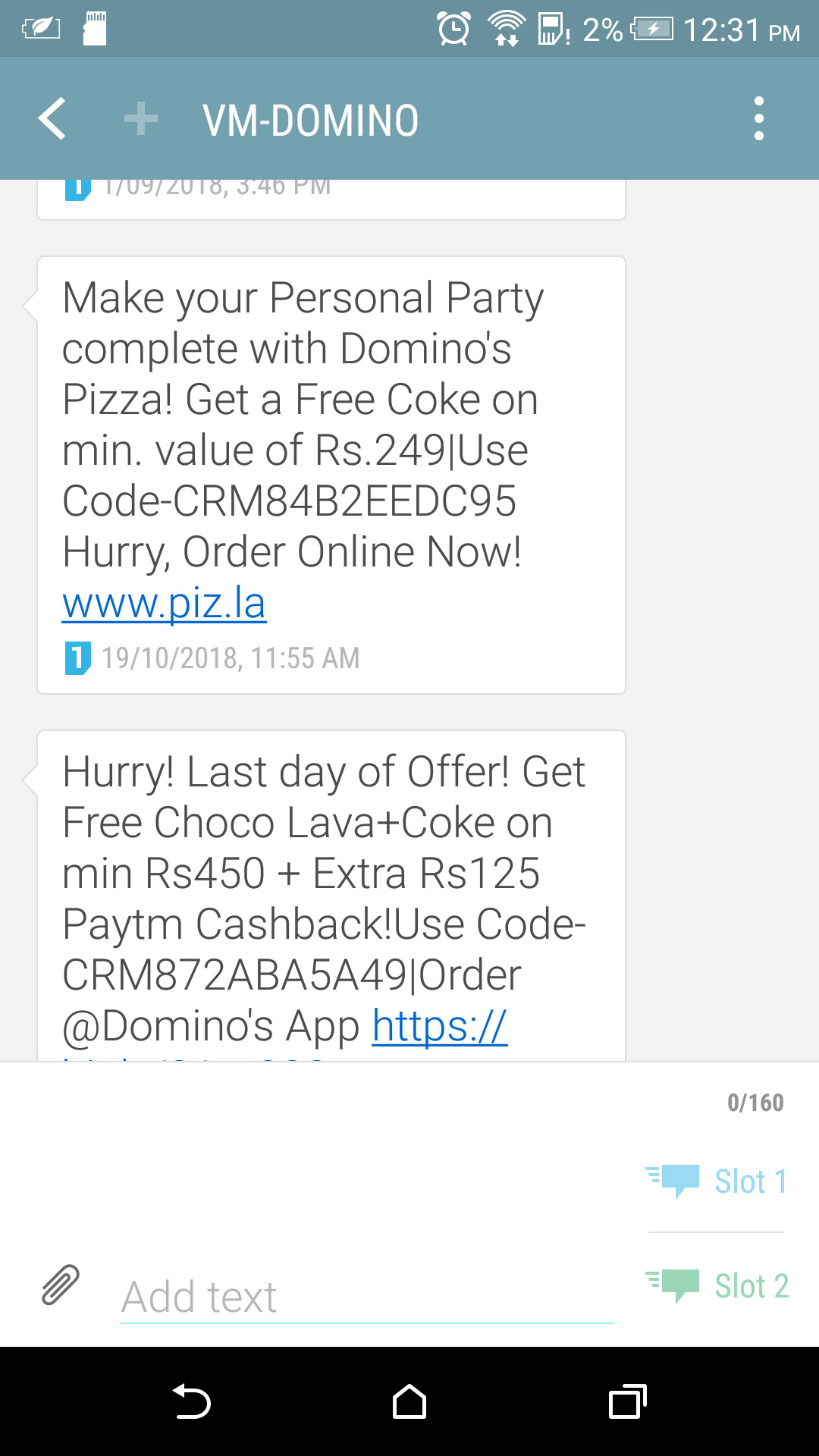 pizza sms marketing